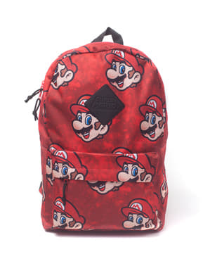 Mochila de Mario Bros Faces vermelha