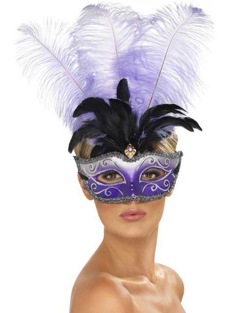 Wenecka maska z fioletowym piórem