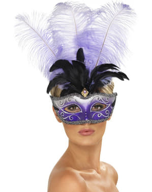 Venetian Eye Mask með Purple Feather