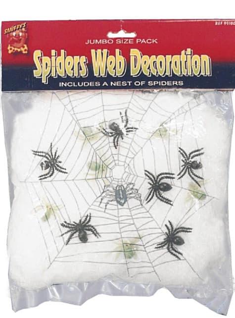 Decoração de teia com aranhas