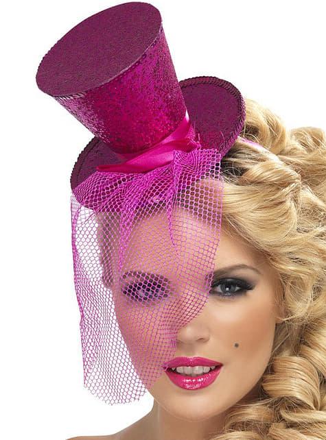 Mini kapelusik Fever różowy fuksja