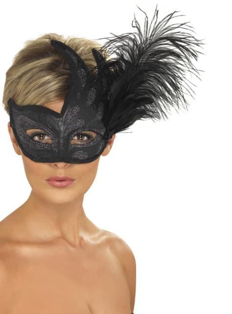 Svart Venetiansk Maske med Fjær