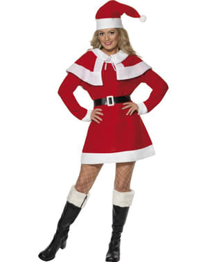 Miss Santa Adult Costume with Fur Lining