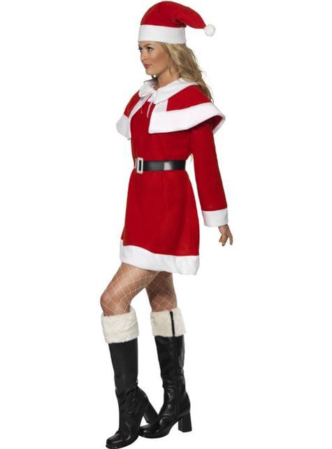 Костюм на Мис Коледа за възрастни с кожени маншети