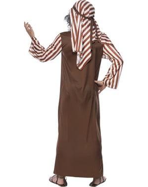 Disfraz de pastor de rayas marrones y blancas para hombre