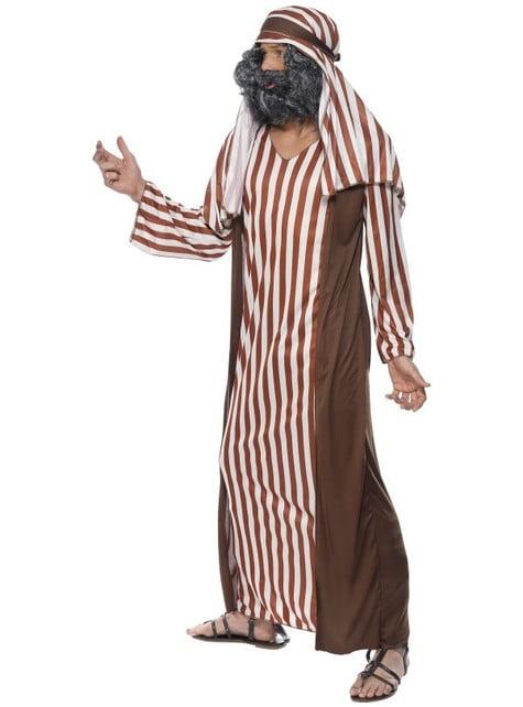 Disfraz de pastor de rayas marrones y blancas para hombre - original