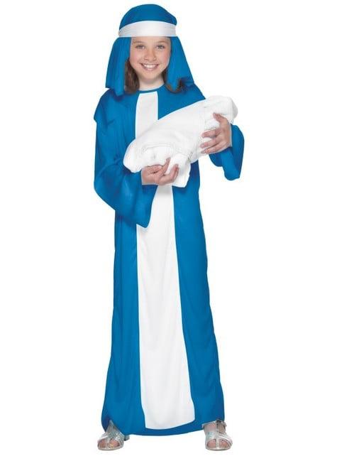 Disfraz de Virgen María económico para niña