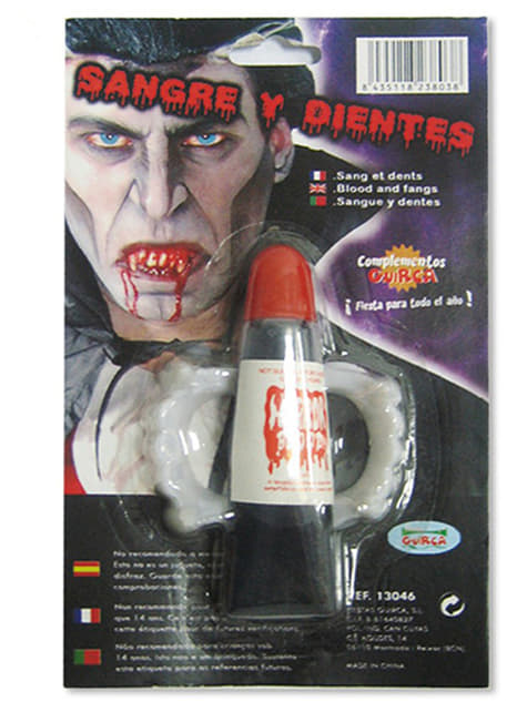 Kit sangre y dientes de vampiro