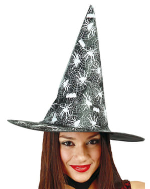 Black witch hat with spider and web