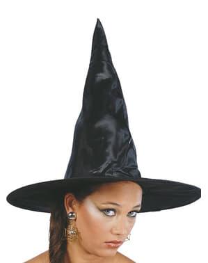 Zwarte heksenhoed van stof