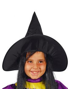 1ade261450fe8 Hexen Hut Schwarz mit Haaren für Mädchen