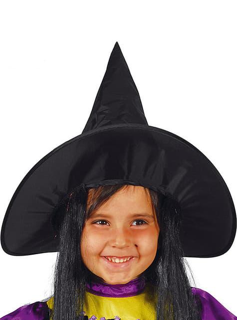 Sombrero de bruja negro con pelo para niña