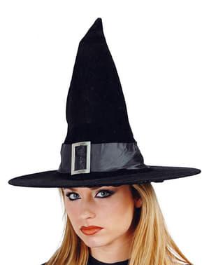 Zwarte fluwelen heksenmuts