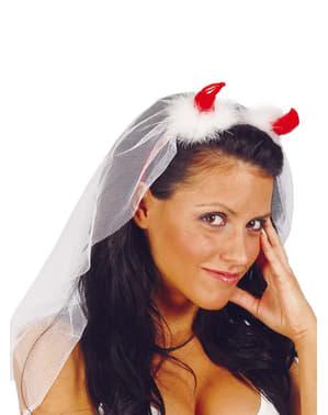 Kvinnlig Djävuls diadem med brudslöja