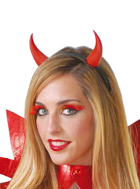 Hårbøjle med røde djævlehorn