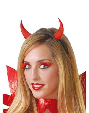 Duivelse diadeem met rode hoorns