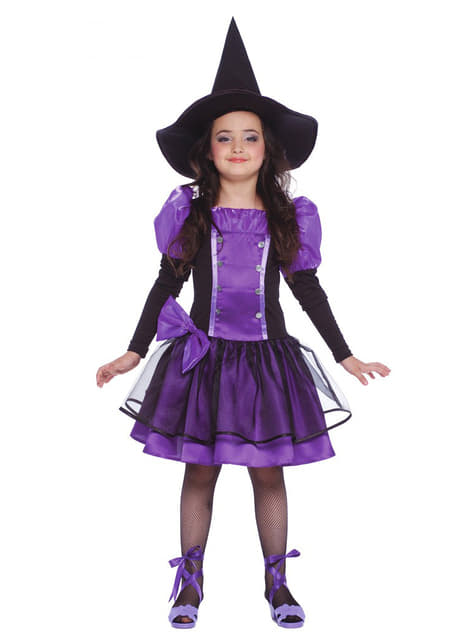Fato de bruxa roxa para menina