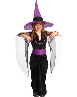 Costum de vrăjitoarea mov pentru fată
