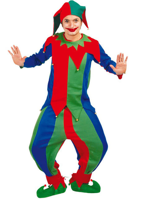 Kleurige nar kostuum