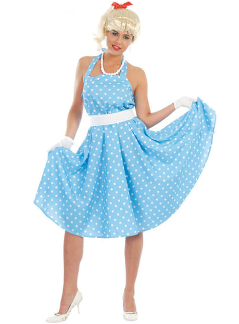 Sandy kostume lyseblå prikket kjole