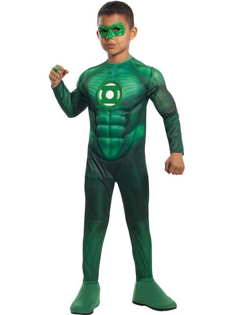Disfraz de Linterna Verde musculoso deluxe para niño