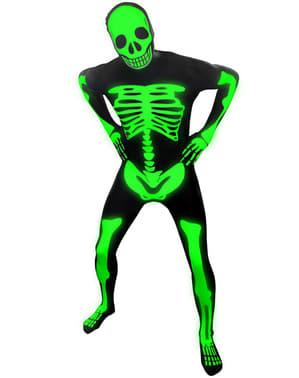 Лъскав скелет за възрастни Morphsuit костюм