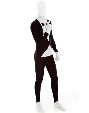 Slenderman Maskeraddräkt Morphsuit smoking svart