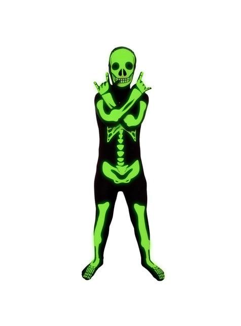 Gyermek fényes csontváz Morphsuit jelmez