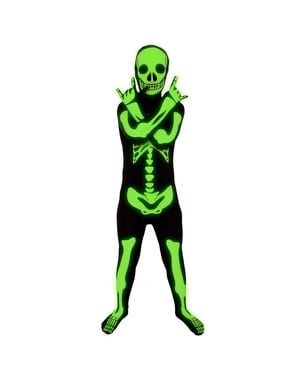 Costume scheletro fosforescente Morphsuit da bambino