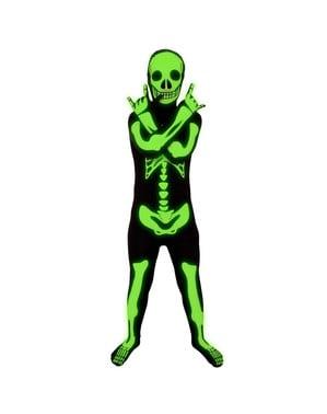Skinnende skeletudklædning Morphsuit til børn