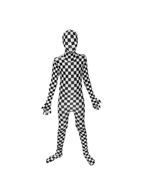 Dětský přiléhavý oblek kostkovaný