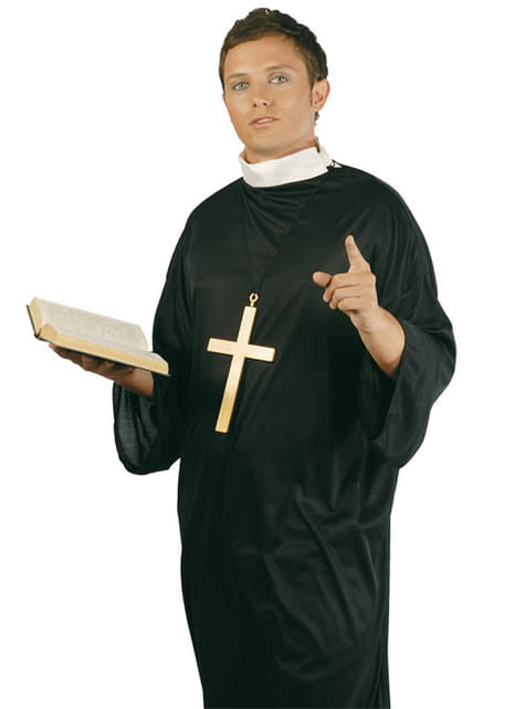 Disfraz de cura cristiano para hombre