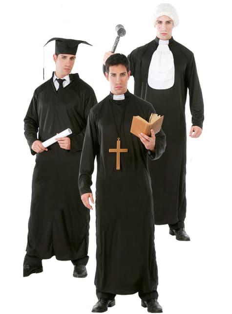 3-i-1 kostume studerende/katolsk præst/dommer