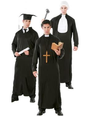 Maskeraddräkt tre-i-ett student/präst/domare