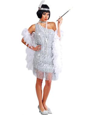 Zilveren charleston kostuum