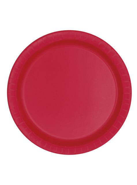 8 medium red dessert plate (18 cm) - Basic Line Colours