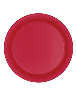 Set 8 středních červených talířů – Základní Barvy