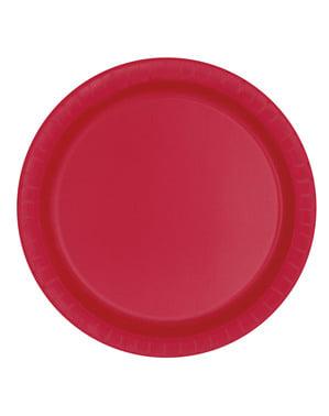 8 mellemrøde dessert tallerkne (18 cm) - Basale farver linje