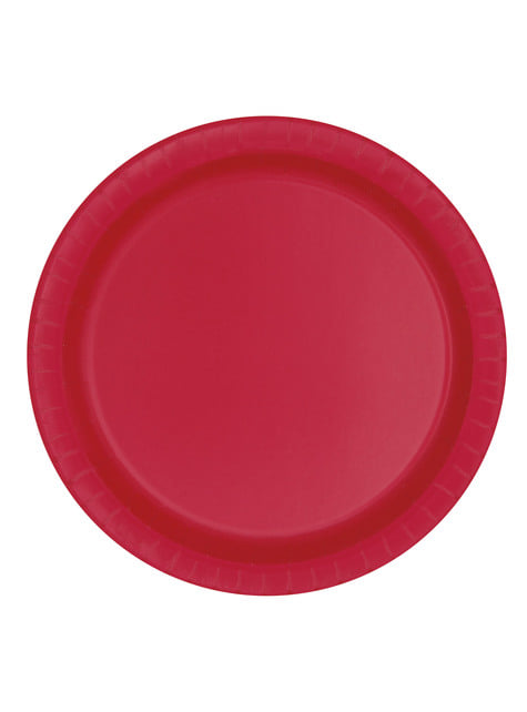 8 platos rojos grandes (23 cm) - Línea Colores Básicos
