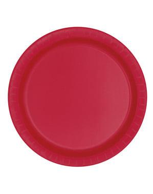 8 grandes assiettes rouges - Gamme couleur unie