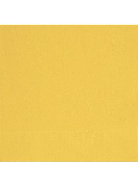 20 grandes Serviettes en papier jaunes - Gamme couleur unie