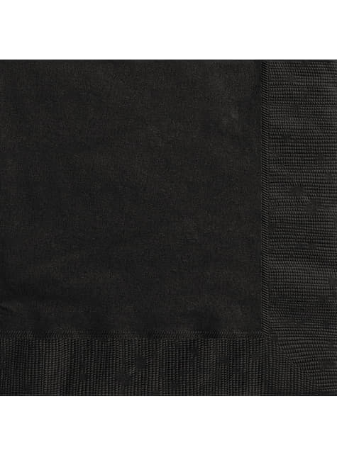 20 grandes Serviettes en papier noires - Gamme couleur unie