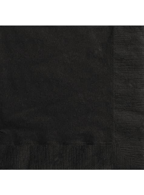 20 grandes serviettes noires - Gamme couleur unie