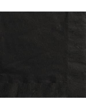 Sæt af 20 store sorte servietter - Basale farver linje