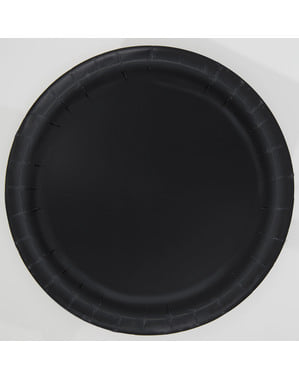 8 zwarte dessert borde (18 cm) - Basis Kleuren Lijn