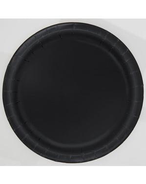 Sæt af 8 sorte dessert tallerkner - Basale farver linje