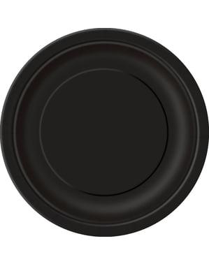 Sett med 8 svart tallerken - Grunnleggende Farger Kolleksjon