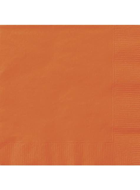20 grandes Serviettes en papier oranges - Gamme couleur unie