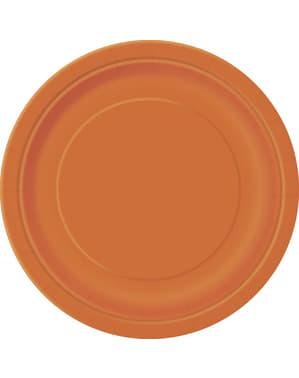 8 pratos de sobremesa cor de laranj (18 cm) - Linha Cores Básicas