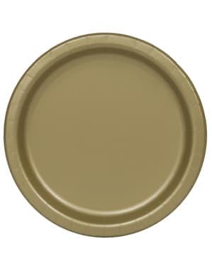 8 assiettes dorées - Gamme couleur unie